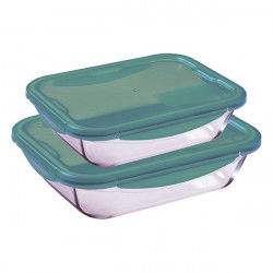 Rectangular Lunchbox with Lid Pyrex Cook&Go Turquoise Glass (0,8 L / 1,7 L)...