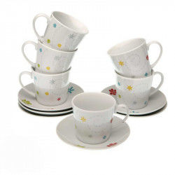 Set of 6 Cups with Plate Daisy (12 pcs) (8 x 7 cm)