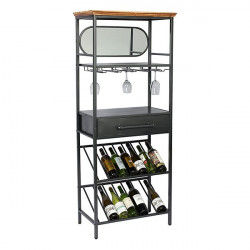 Bottle rack Industrial Crystal Spruce wood and wrought iron Fir wood (68 x 37...