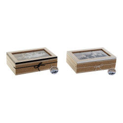 Box for Infusions DKD Home Decor Crystal MDF Wood (2 pcs) (23 x 15.5 x 6.5 cm)