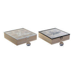 Box for Infusions DKD Home Decor Crystal MDF Wood (24 x 24 x 7 cm) (2 pcs)
